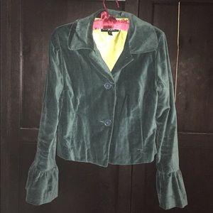 Gorgeous green velvet jacket with ruffle sleeves